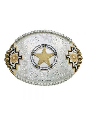 Montana Silversmiths Two-tone Southwestern Accent Belt Buckle with Round Star Concho 61668-100968