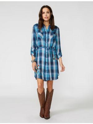 Stetson INDIGO BLUES PLAID WESTERN SHIRT DRESS 11-057-0565-0708