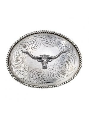 Montana Silversmiths Antiqued Medium Oval Classic Engraved Buckle with Longhorn 1350RTS-771