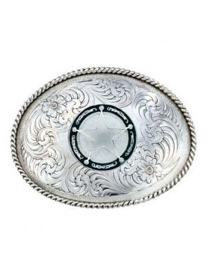 Montana Silversmiths Antiqued Medium Oval Classic Engraved Buckle with Star Concho 1350RTS-C325U