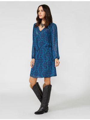 Stetson ORNAMENTAL BLUES TIE WAIST DRESS 11-057-0590-0709