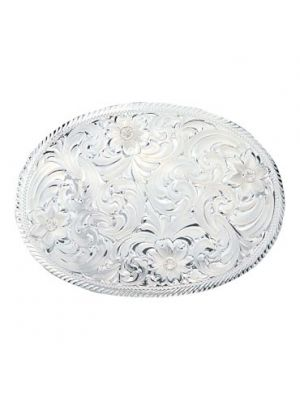 Montana Silversmiths Oval Silver Engraved Western Belt Buckle with Etched Trim 1840