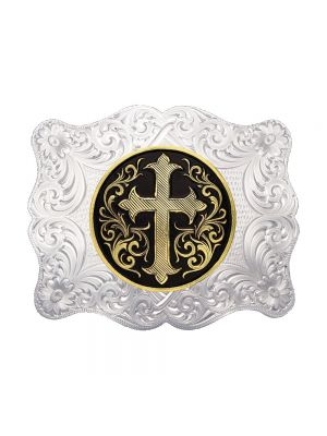 Montana Silversmiths Small Silver Scalloped Western Belt Buckle with Gold Cross Concho 2000-C395U