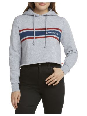 DICKIES GIRL'S Vintage Striped Cropped Hoodie FLC101