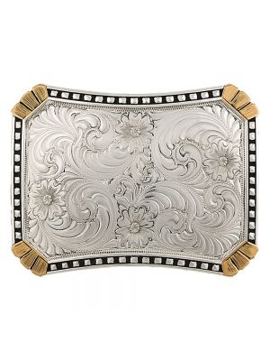 Montana Silversmiths  Heirloom Gold Corners and CrossCut Rectangle Buckle 27800RTGNF