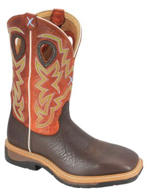 Twisted X Men's Orange Lite Cowboy Work Boots  050X65