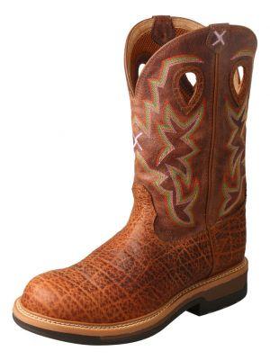 Twisted X Lite Cowboy Elephant Print Western Work Boots - Round Toe 2000276920