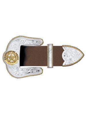 Montana Silversmiths Texas Star Silver Engraved Gold Trim 1.5