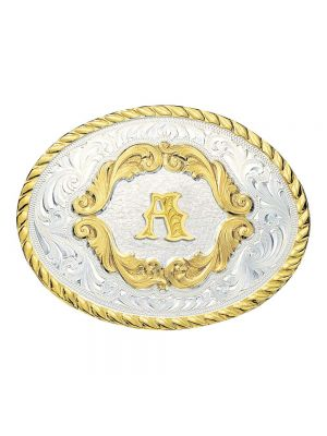 Montana Silversmiths Small Initial Gold Filigree Western Belt Buckle 5000A