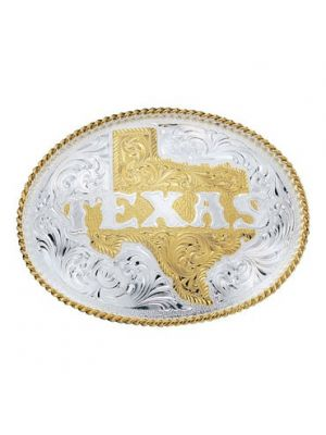 Montana Silversmiths Silver Engraved Western Belt Buckle with Etched State of Texas 5630