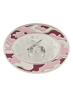 Montana Silversmiths Silver-Tone Pink Camo Buckle with Silver Crossed Pistols 6108PK-55