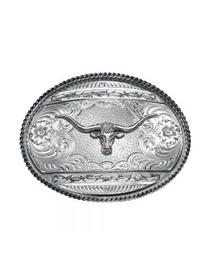 Montana Silversmiths Antiqued Barbed Edge Western Belt Buckle with Longhorn 6135RTS-771