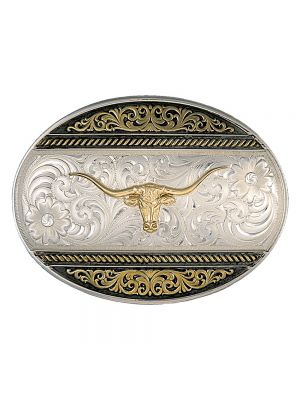 Montana Silversmiths  Two Tone Western Deco Oval Buckle with Longhorn 6140-771