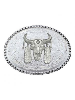 Montana Silversmiths Antiqued Silver 6189 Series Ceremonial Buffalo Skull Belt Buckle 6189SV-447