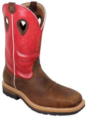Twisted X Men's Red Waterproof Lite Cowboy Work Boots 050X63