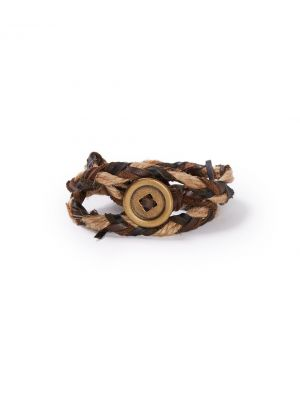 Stetson Jute and Leather Triple Wrap Wristband 9101S