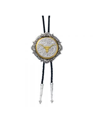 Montana Silversmiths Silver and Gold Engraved Button Bolo Tie BT366-384S