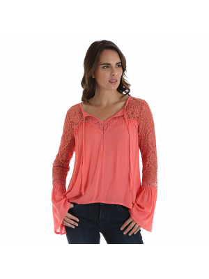 WRANGLER® WOMEN'S LONG SLEEVE PEASANT BLOUSE WITH LACE BELL SLEEVES LWK754H