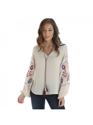 WRANGLER® WOMEN'S LONG SLEEVE EMBROIDERED PEASANT BLOUSE LW7199N