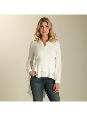 WRANGLER® LONG SLEEVE RUFFLE HEM TOP WITH METAL TIPPED COLLAR LW7195N