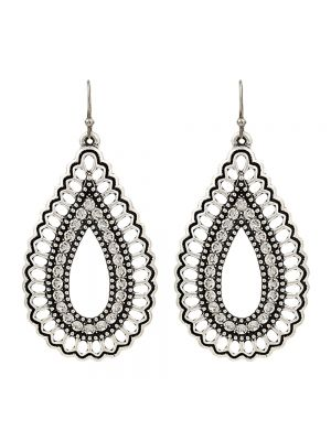 Rock 47 Vintage Kitsch Open Sparkling Teardrop Earrings ER2649R47