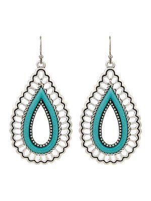 Rock 47 Vintage Kitsch Open Turquoise Teardrop Earrings ER2649TQR47