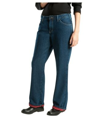 Dickies Women's Relaxed Fit Straight Leg Flannel Lined Denim Jean FD117 Stonewashed Vintage Blue (SVB)