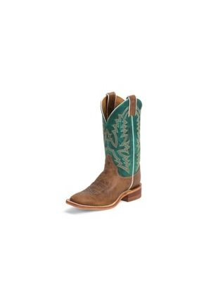 JUSTIN WOMEN'S BROWN BENT RAIL BOOTS WITH DARK TURQUOISE TOP BRL317