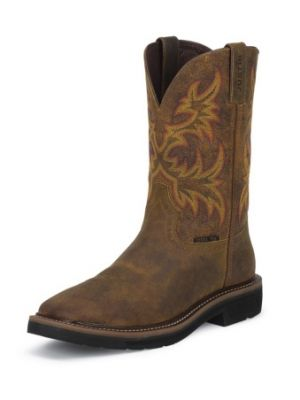 JUSTIN WOMEN'S RUGGED TAN COWHIDE STAMPEDE STEEL TOE WORK BOOTS WKL4682