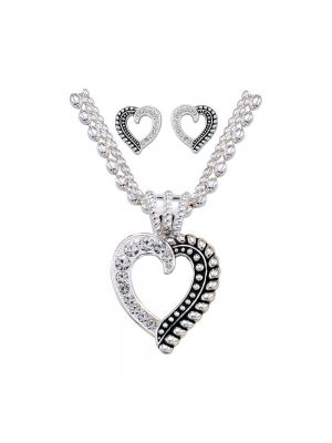 Montana Silversmiths Twisted Rope and Crystals Heart Jewelry Set JS1041
