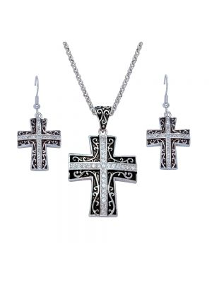 Montana Silversmiths Rhinestone Cross set in Antiqued Filigree Jewelry Set JS1185