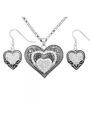 Montana Silversmiths Vintage Charm Our Prairie Mothers Heart Jewelry Set JS1319CZ