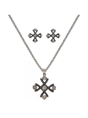 Montana Silversmiths Antiqued Crystal Braided Cross Jewelry Set JS2238
