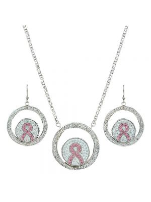 Montana Silversmiths Tough Enough to Wear Pink Hope Rope Enfolded Jewelry Set JS2784