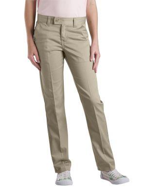 Dickies Girls' Slim Fit Straight Leg Stretch Twill Pant, 7-20 KP5519