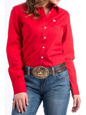 Cinch WOMENS SOLID RED BUTTON-DOWN WESTERN SHIRT MSW9164032