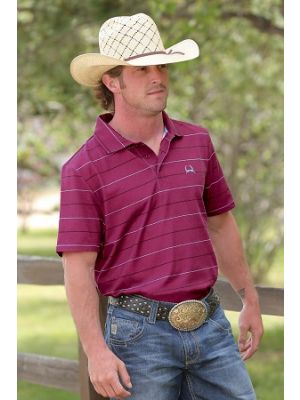 Cinch MENS CRANBERRY STRIPED POLO SHIRT MTK1825002