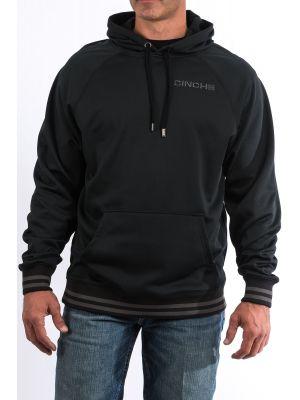 Cinch Mens Black Poly Tech Fleece Raglan Hoodie MWK1217002
