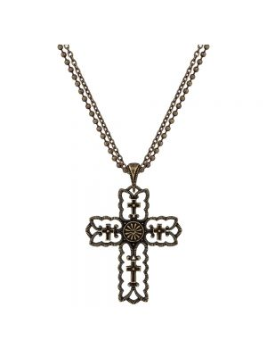 Rock 47 Vintage Kitsch Bronze-Tone Scalloped Cross Necklace NC2431BR47