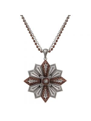 Rock 47 Points of Aztec Copper Accent Starburst Necklace NC2443CSR47