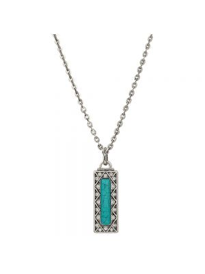 Rock 47 Vintage Kitsch Rectangular Turquoise Pendant Necklace NC2638R47