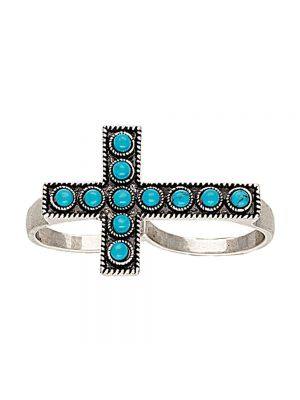 Rock 47 Rocks and Roll Beaded Cross Two Finger Fashion Ring RG117R47