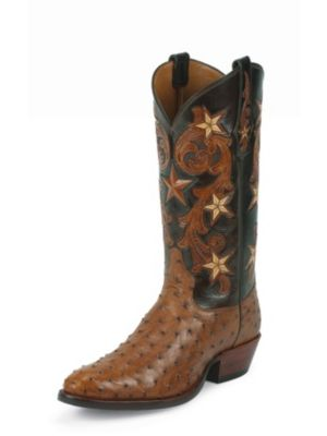 TONY LAMA MEN'S BRANDY COWBOY CLASSIC SIGNATURE SERIES™ OSTRICH WESTERN BOOTS WITH HAND-TOOLED TOPS 1003