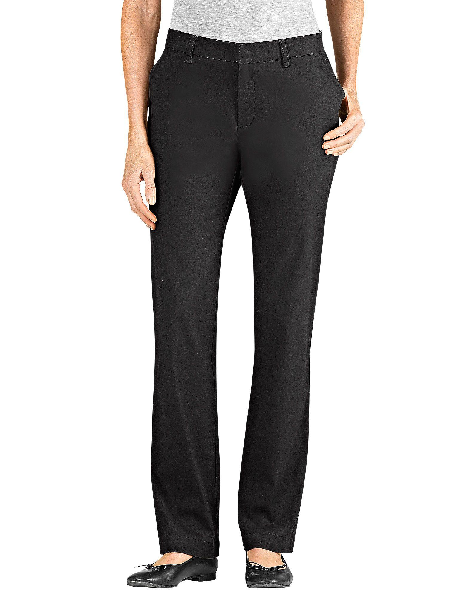 Dickies Women s Slim Fit Straight Leg Stretch Twill Pant FP212 Black ... 5ad9c1d59f25