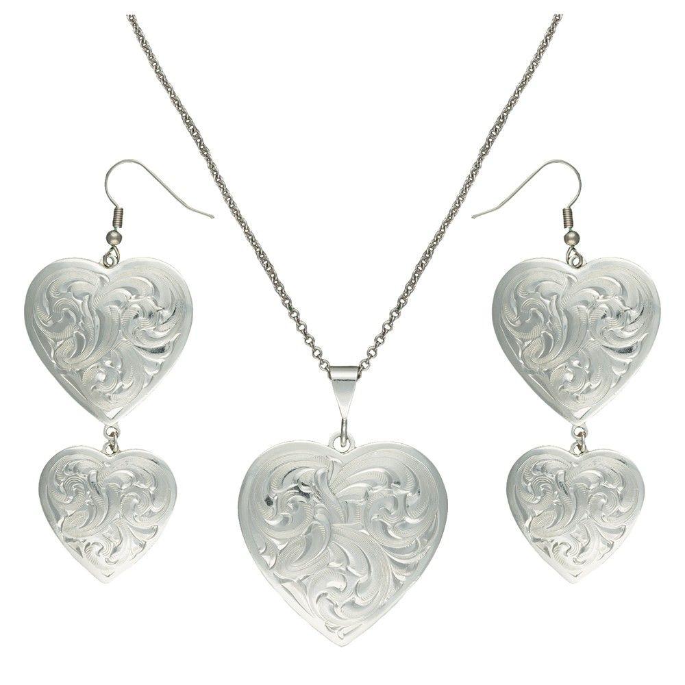 Montana Silversmiths Classic Heart Silver Tone Concho Jewelry Set JS2239