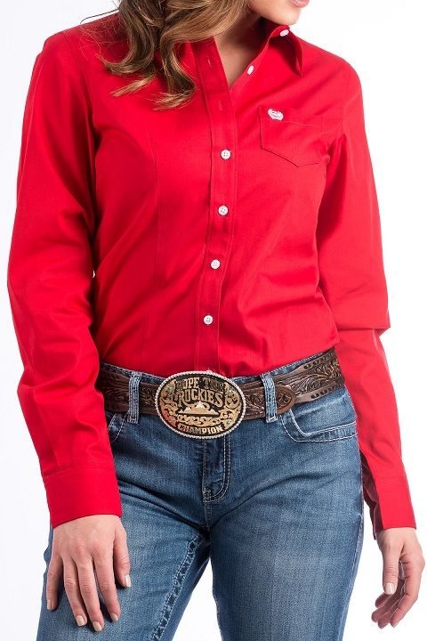 511bf7018 Cinch WOMENS SOLID RED BUTTON-DOWN WESTERN SHIRT MSW9164032. Details