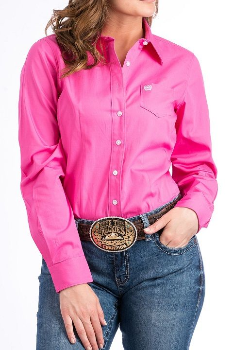 2b8fe57bc Cinch WOMENS SOLID PINK BUTTON-DOWN WESTERN SHIRT MSW9164033. Details