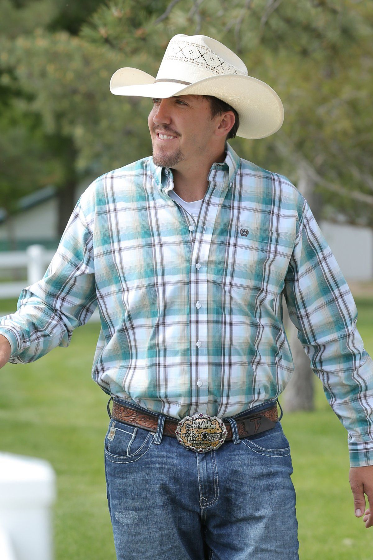58cb4aded Cinch MENS GREEN AND BROWN PLAID WESTERN BUTTON ...