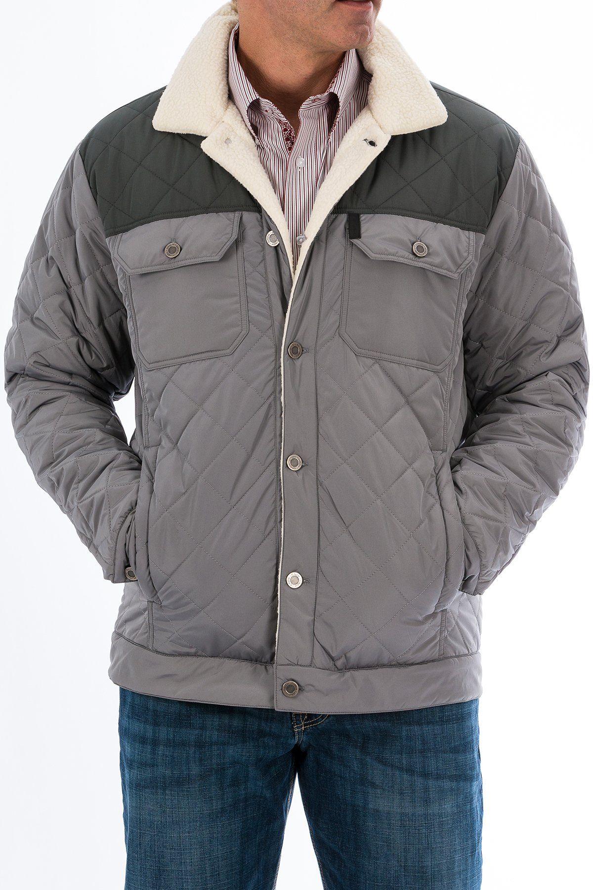 934f51df77f2 Cinch Mens Quilted Shirt Jacket - Gray MWJ1093001. Details