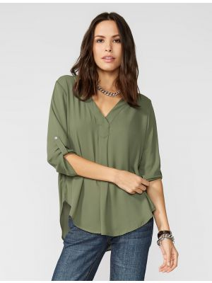 Stetson OLIVE CREPE PEASANT BLOUSE 11-050-0592-0717